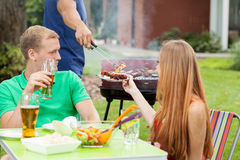 Celebrating holidays on a barbecue Stock Photo
