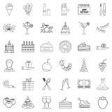 Celebrating icons set, outline style Stock Photography