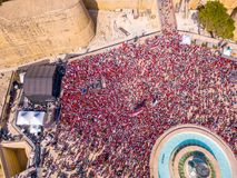Celebrating labour day in Valletta, Malta. Aerial view on the people crowd celebrating workers day on the 1st of May royalty free stock images