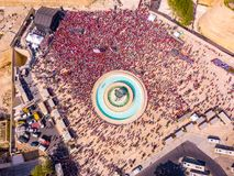 Celebrating labour day in Valletta, Malta. Aerial view on the people crowd celebrating workers day on the 1st of May royalty free stock photography
