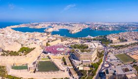 Celebrating labour day in Valletta, Malta. Aerial view on the people crowd celebrating workers day on the 1st of May royalty free stock photos