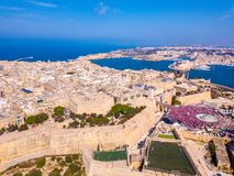 Celebrating labour day in Valletta, Malta. Aerial view on the people crowd celebrating workers day on the 1st of May stock photography