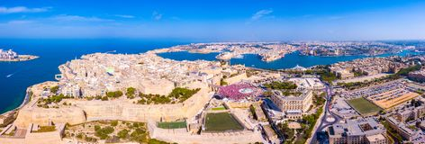 Celebrating labour day in Valletta, Malta. Aerial view on the people crowd celebrating workers day on the 1st of May royalty free stock photo