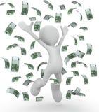 Celebrating money bills 3d illustration. Isolated on white background Stock Image