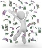 Celebrating money bills 3d illustration. Isolated on white background Royalty Free Stock Image