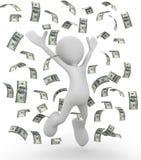 Celebrating money bills 3d illustration. Isolated on white background Royalty Free Stock Photo