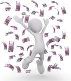 Celebrating money bills 3d illustration. Isolated on white background Royalty Free Stock Photos