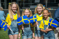 Celebrating the National day of Sweden Stock Image