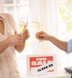 Celebrating new house Stock Images