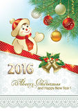 Celebrating the new year with a cheerful snowman Royalty Free Stock Photo