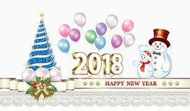 Celebrating the New Year 2018 Stock Photo