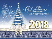Celebrating the New Year 2018 with a Christmas tree on a blue background with firework. And balloons Stock Images