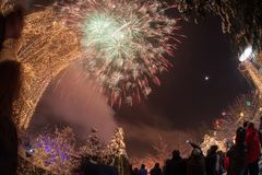 Celebrating the New Year with fireworks. Whole city celebrating the New Year with fireworks Royalty Free Stock Image