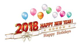Celebrating the New Year 2018. Happy New Year in 3d format and with bells on the background of balloons Stock Image