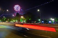 Celebrating New Year 2014. New Year 2014 In Johor Bharu, Malaysia. Fireworks on night scene Stock Photo