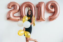 Celebrating. New Year 2019. Woman with balloons having fun. Stock Image