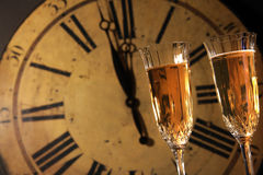 Celebrating New Years with champagne Stock Photo