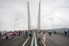 Celebrating the opening of the bridge in Vladivost Stock Photography