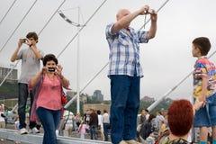 Celebrating the opening of the bridge in Vladivost Stock Photo