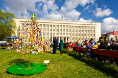 Celebrating Orthodox Easter in Uzhgorod. Uzhgorod, Ukraine - April 07, 2017: Celebrating Orthodox Easter in Uzhgorod on the Narodna square. Celebration in front Stock Images