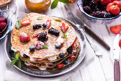 Celebrating Pancake Day with crepes Royalty Free Stock Image