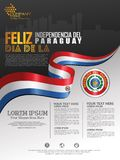 Celebrating Paraguay Independence Day. Abstract waving flag on Poster, flayer and brochure background template vector illustration