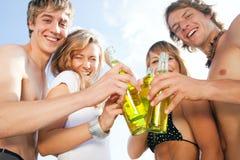Celebrating party at beach Stock Photos