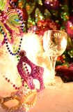 Mardi Gras colorful celebration decorations. Celebrating and party table with festive atmosphere image with copyspace. Mardi Gras, or Fat Tuesday, refers to royalty free stock photography