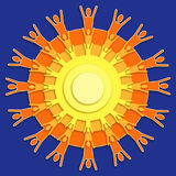Celebrating People. A circle with people silhouettes radiating from the edges creating a sun like shape layered to create a radiating effect Stock Photo