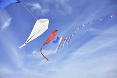 Celebrating queensday. Holland, flags, flyer, sky, red white and blue, long line waving Stock Photography
