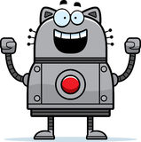 Celebrating Robot Cat Stock Photo