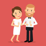Celebrating romantic couple icon Stock Photo