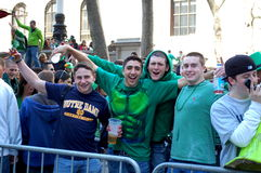 Celebrating Saint Patrick's Day in New York City. Beer and green clothes mark the celebration of Saint Patrick's Day in New York City Royalty Free Stock Image