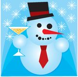 Celebrating snowman Stock Images