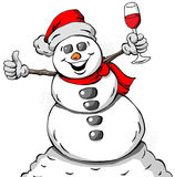 Celebrating Snowman. Cartoon illustration of a Celebrating Snowman Royalty Free Stock Photography