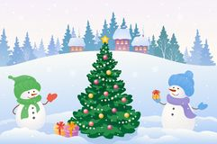 Celebrating snowmen. Vector drawing of two celebrating snowmen and Christmas tree Stock Image