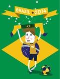 Celebrating Soccer Game. Brazil 2014. flat design element. vector Stock Image