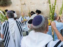 Celebrating Sukkot at the Western Wall close-up. Jerusalem, Israel - September 20, 2013: Jewish men gathered at the Wailing Wall in order to celebrate the Feast Royalty Free Stock Images