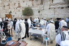 Celebrating sukkot at the Western Wall. Jerusalem, Israel - September 20, 2013: Jewish men gathered at the Wailing Wall in order to celebrate the Feast of Royalty Free Stock Photography