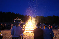Celebrating the summer solstice. A large fire at the celebration of the summer solstice on the shore of the Gulf of Riga. Latvia stock photography