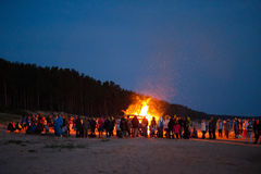 Celebrating the summer solstice. On the shore of the Gulf of Riga. Latvia royalty free stock images