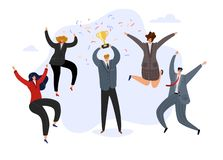 Celebrating team. Businessman holding prize winning trophy cup and happy jumping cheerful team. Business achievement. Vector concept vector illustration