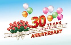 Greeting card with the 30th anniversary. Celebrating 30th anniversary with a bouquet of roses and balloons Stock Images