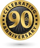 Celebrating 90th anniversary gold label, vector. Illustration Stock Images