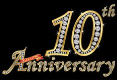 Celebrating 10th anniversary golden sign with diamonds,. Vector illustration Stock Illustration