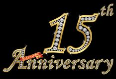 Celebrating 15th anniversary golden sign with diamonds, vector. Illustration stock illustration