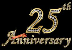 Celebrating  25th anniversary golden sign with diamonds, vector. Illustration Royalty Free Stock Image