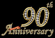 Celebrating 90th anniversary golden sign with diamonds, vector. Illustration royalty free illustration