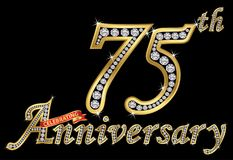 Celebrating  75th anniversary golden sign with diamonds, vector. Illustration Royalty Free Stock Image