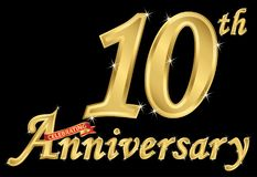 Celebrating 10th anniversary golden sign, vector illustration. Celebrating 10th anniversary golden sign, vector Royalty Free Illustration